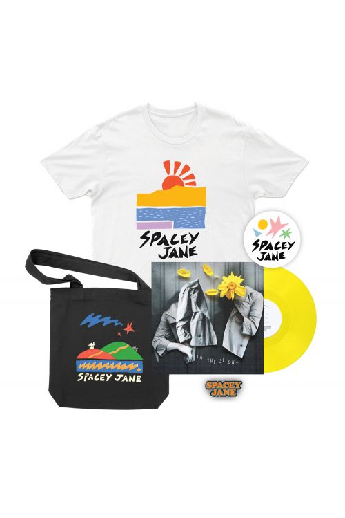 "In The Slight (EP) 10"" Vinyl V2 Solid Yellow + Beach Sun White Tshirt, Star House Black Tote, Logo Pin + Shapes Sticker by Spacey Jane"