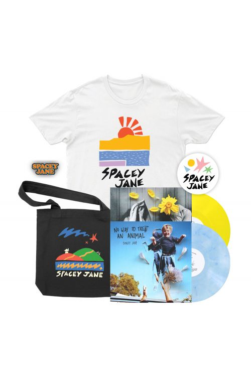 "No Way To Treat An Animal (EP) 10"" V2 Blue/White Marble Vinyl+ In The Slight (EP) 10"" Solid Yellow Vinyl + Beach Sun White Tshirt, Star House Black Tote, Logo Pin + Shapes Sticker by Spacey Jane"